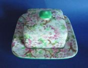 Shelley Pottery 'Maytime' Chintz Square Butter Dish and Cover c1939